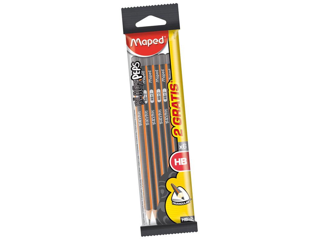 Harilik pliiats BlackPeps kolmekandiline HB 4+2tk blistril