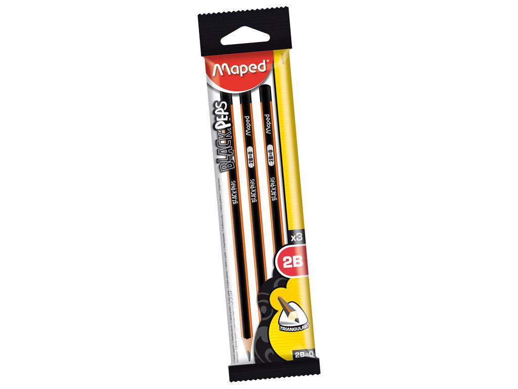 Harilik pliiats BlackPeps kolmekandiline 2B 3tk blistril