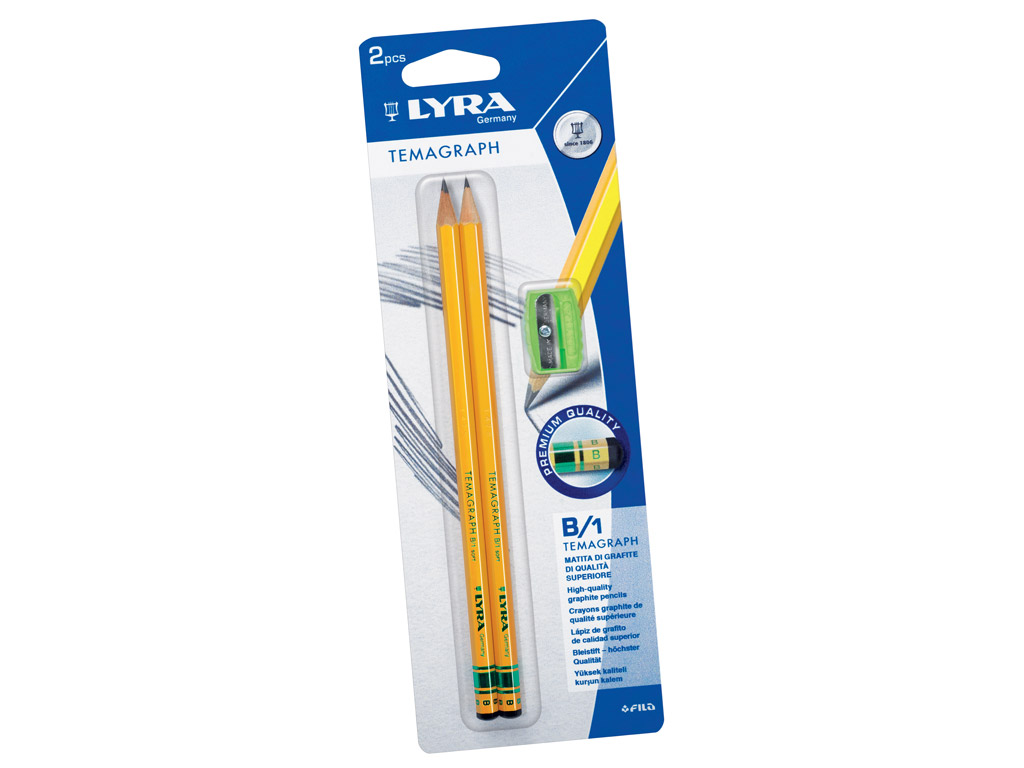Harilik pliiats Lyra Temagraph 2xB+teritaja blistril