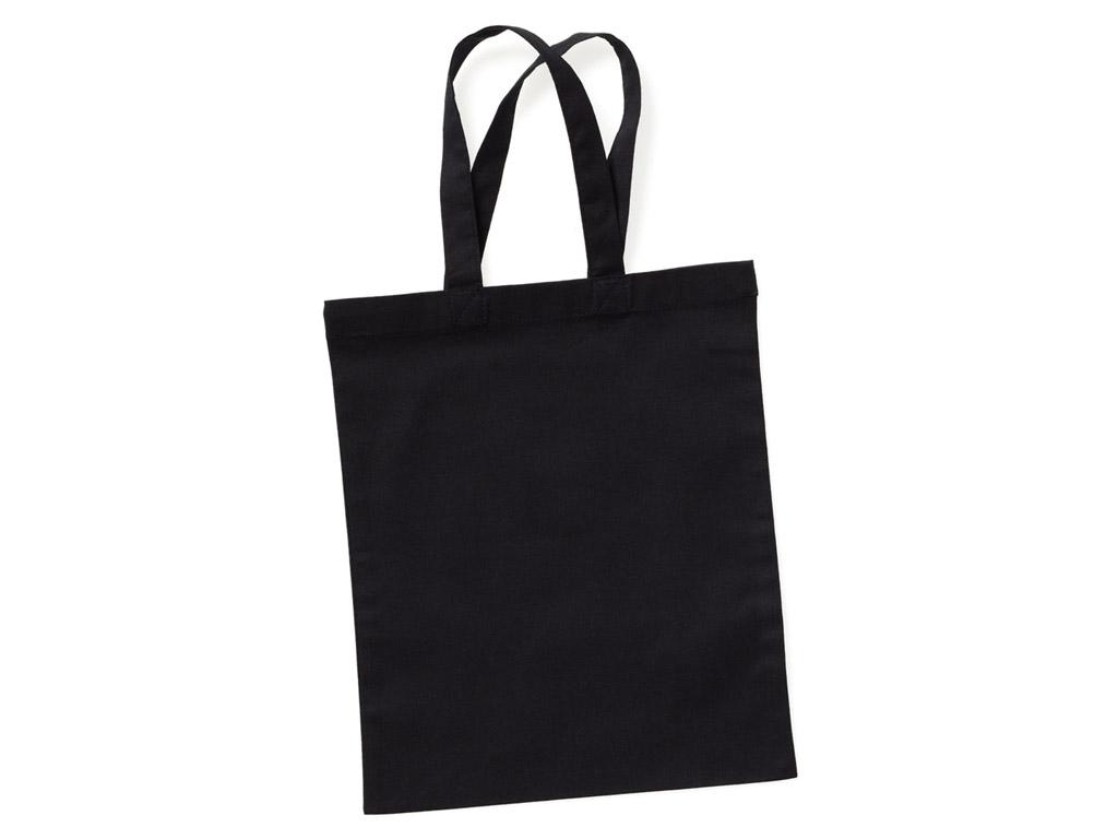 Kokvilnas maisiņš 24x28cm ar īsiem rokturiem black