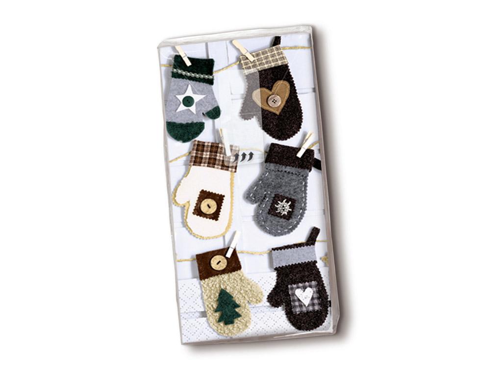 Popierinės nosinės 10vnt. 4 sluoksnių Xmas Mitten