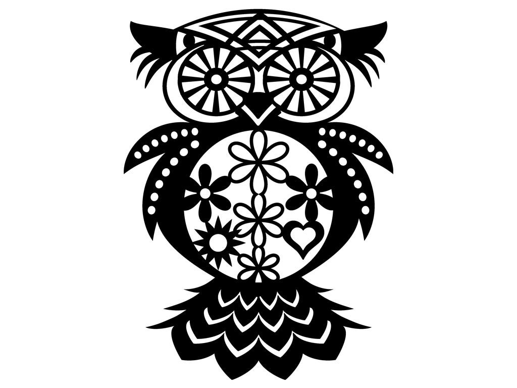 Šabloon Marabu Silhouette 30x30cm Flowered Owl