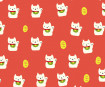 Paber Origami Fun Net 15x15cm 10tk luck cat white on red