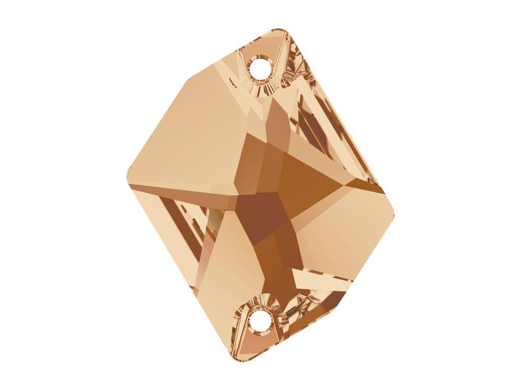 Krištolo karoliukai siuvinėjimui Swarovski cosmic 3265 26x21mm 001GSHA crystal golden shadow