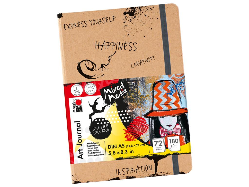 Eskiisiplokk Marabu Art Journal A5/180g 72 lehte kummiga