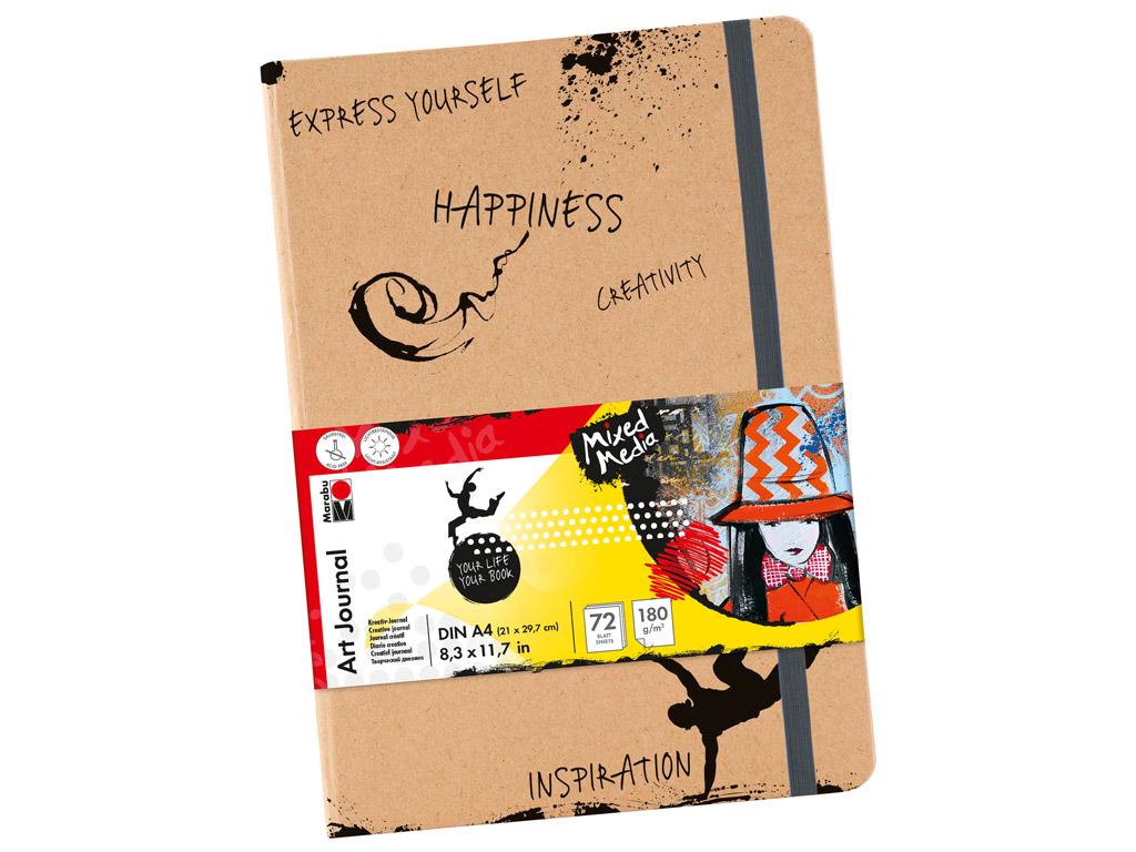 Eskiisiplokk Marabu Art Journal A4/180g 72 lehte kummiga
