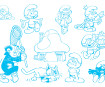Zīmogs Aladine Stampo Minos 10gab. Smurfs + zīmoga spilventiņš melna
