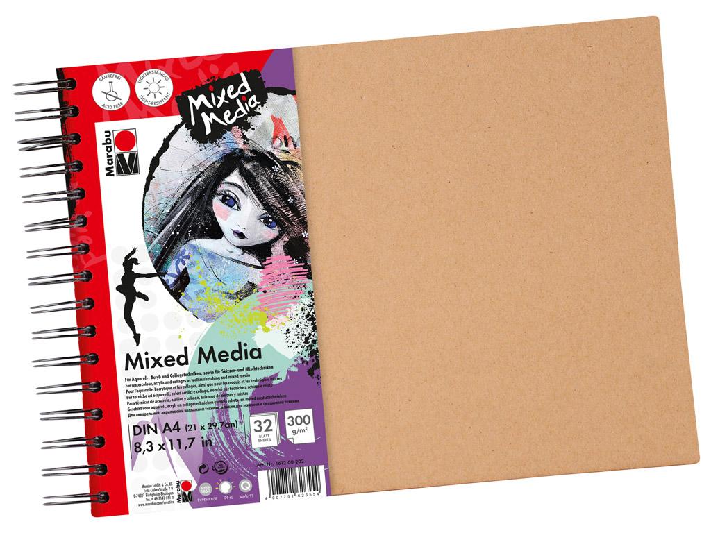 Akrüülipaberiplokk Marabu Mixed Media A4/300g 32 lehte spiraal