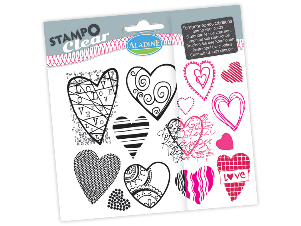 Tempel silikoonist Aladine Stampo Clear 14tk Hearts blistril