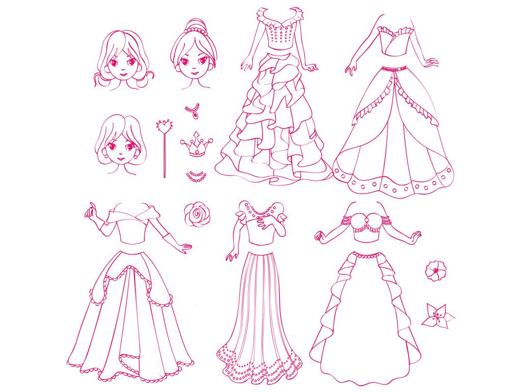 Stamp Aladine Stampo Fashion 20pcs Princess + ink pad grey