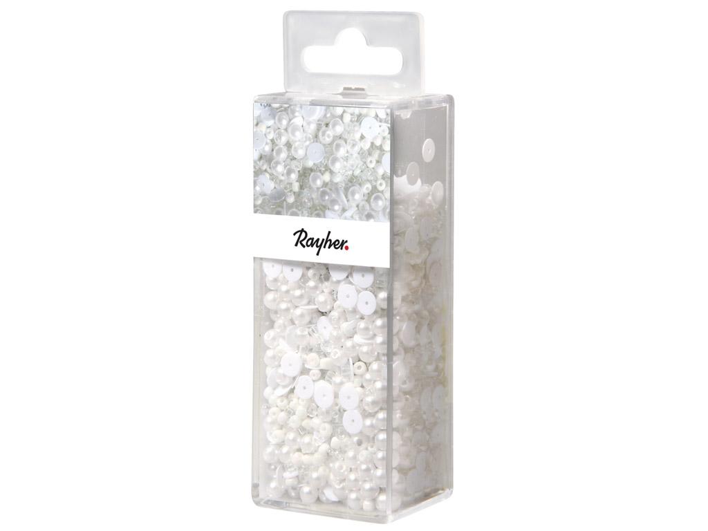 Litrid Rayher valge 80g+klaashelmed+traat 0.3mm 50m