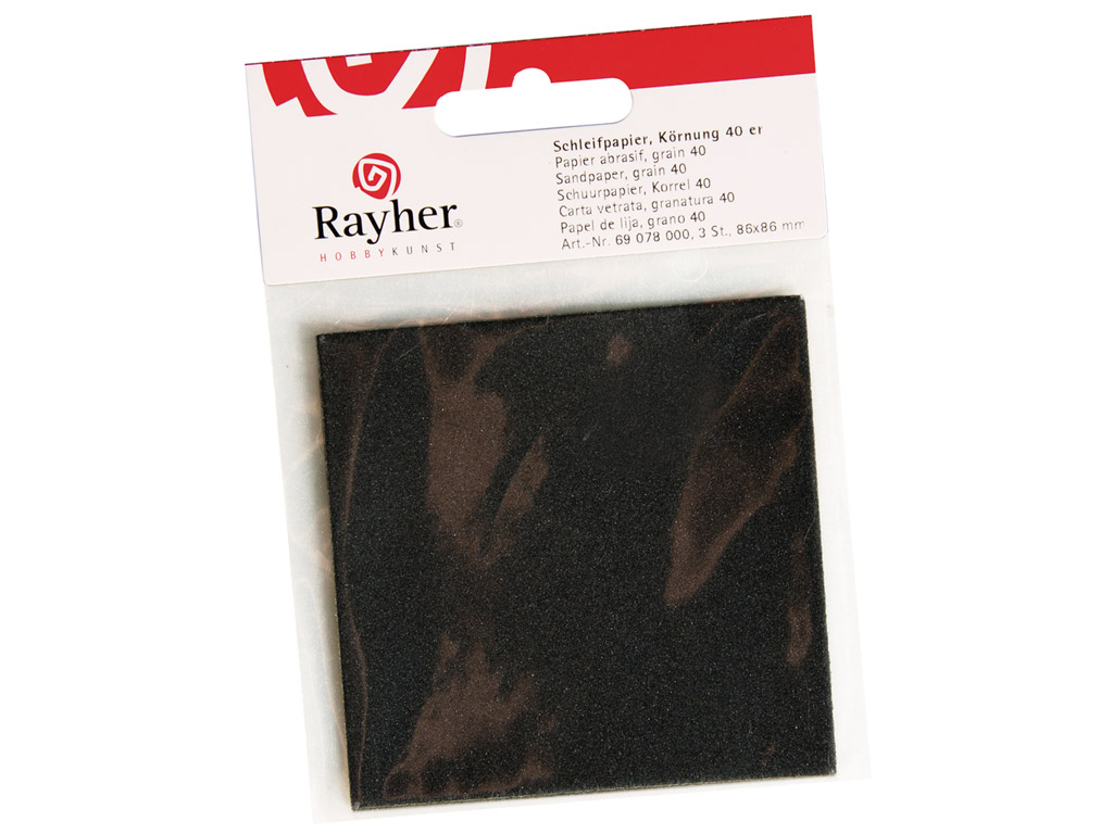 Liivapaber Rayher P400 86x86mm 3tk blistril
