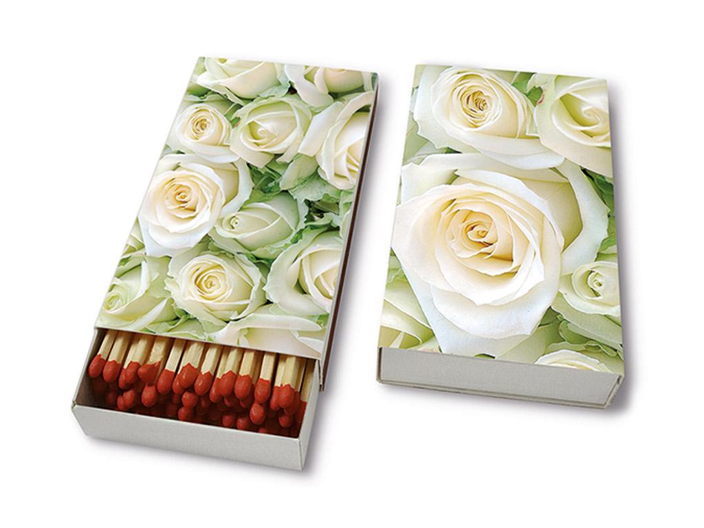 Degtukai 9.5cm 45vnt. White Roses