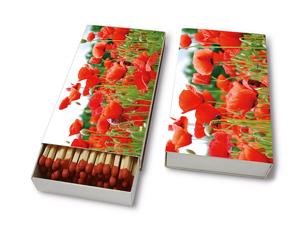 Degtukai 9.5cm 45vnt. Field of Poppies