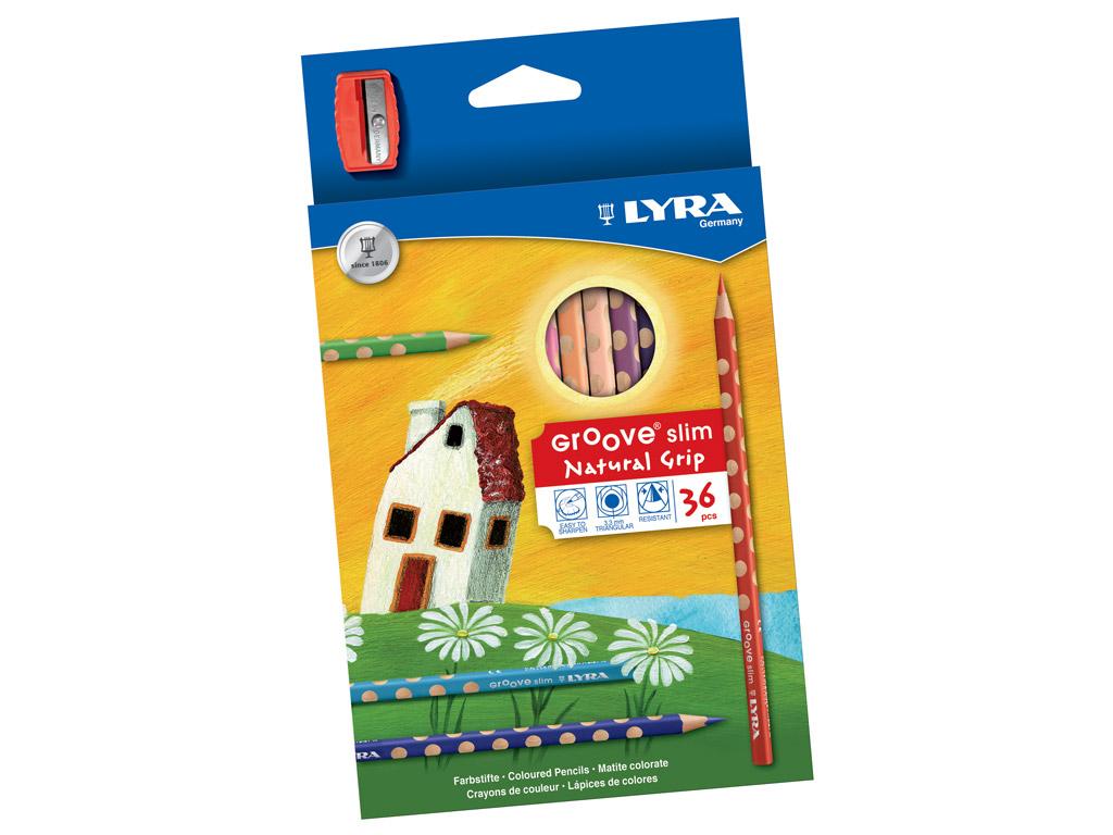 Spalvotas pieštukas Lyra Groove Slim 36vnt.+drožtukas