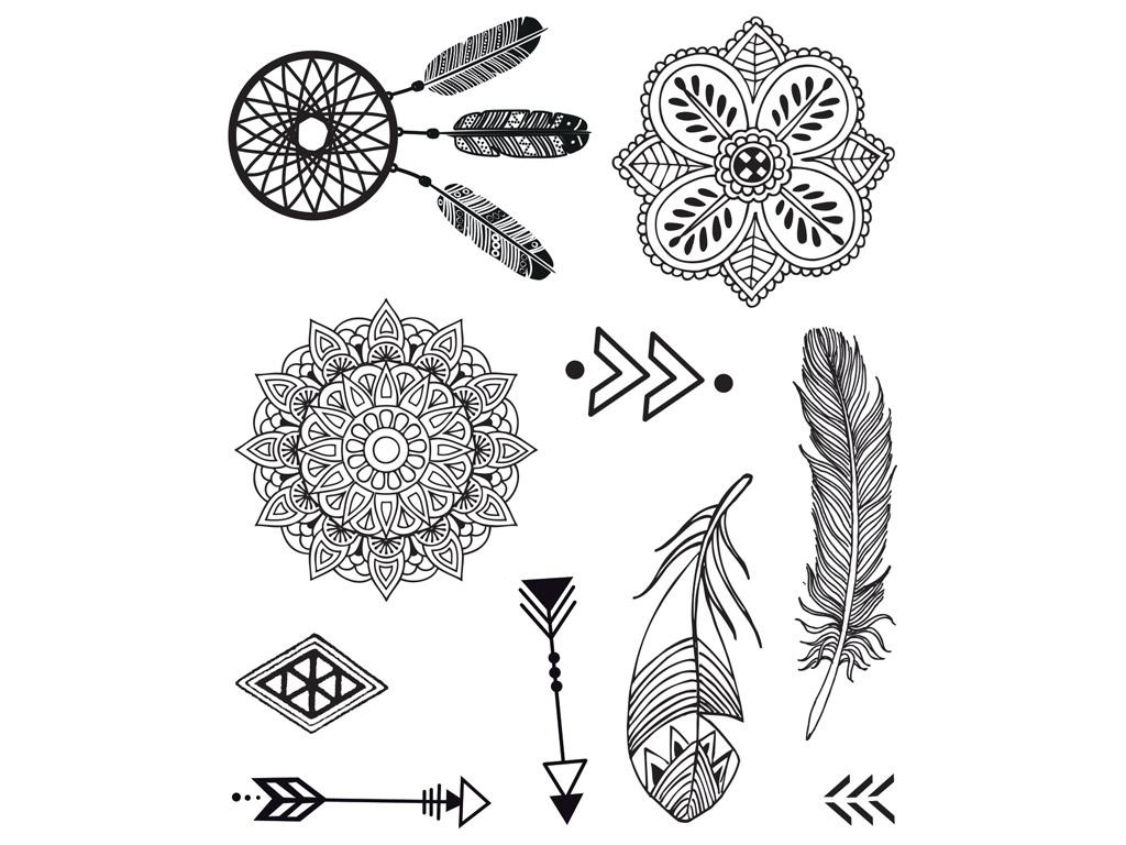 Tempel Aladine Stampo Tatoo 10tk Ethnique + templipadi must