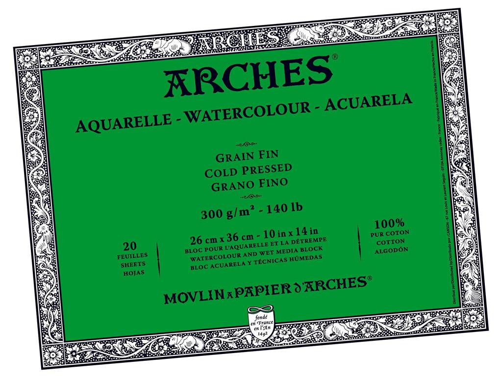 Akvarellplokk Arches 26x36cm/300g 20 lehte liimitud küljed keskmine korn