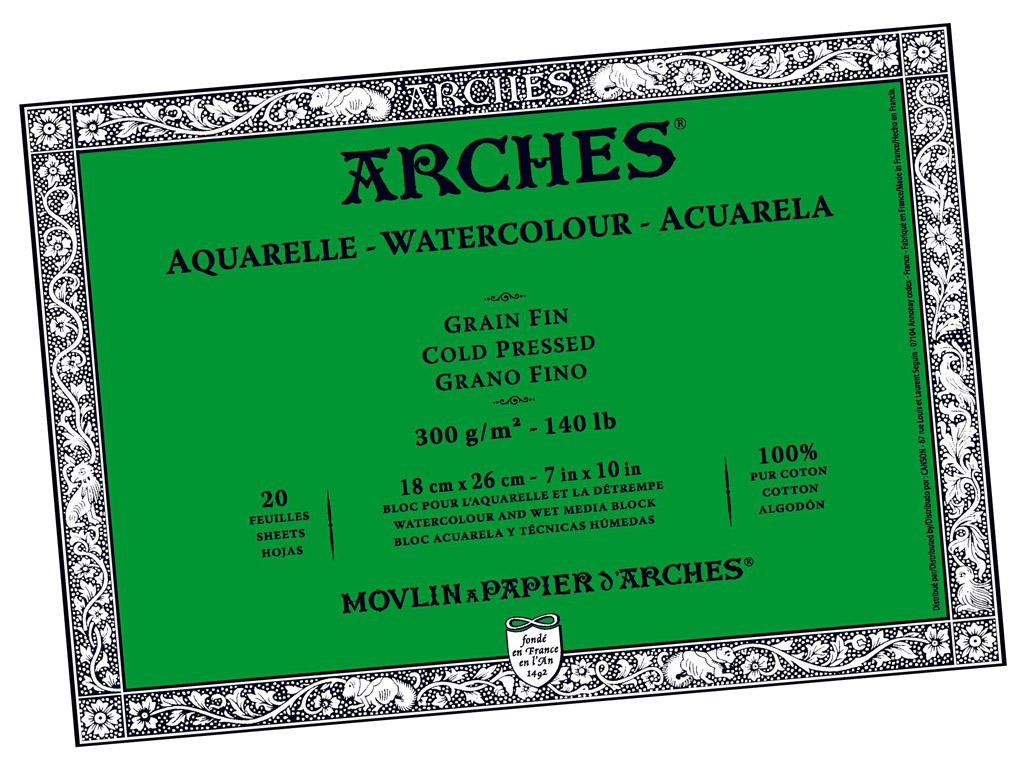 Akvarelinio popieriaus sąsiuvinis Arches 18x26cm/300g 20 lapų suklijuoti kraštai vidutinė tekstūra