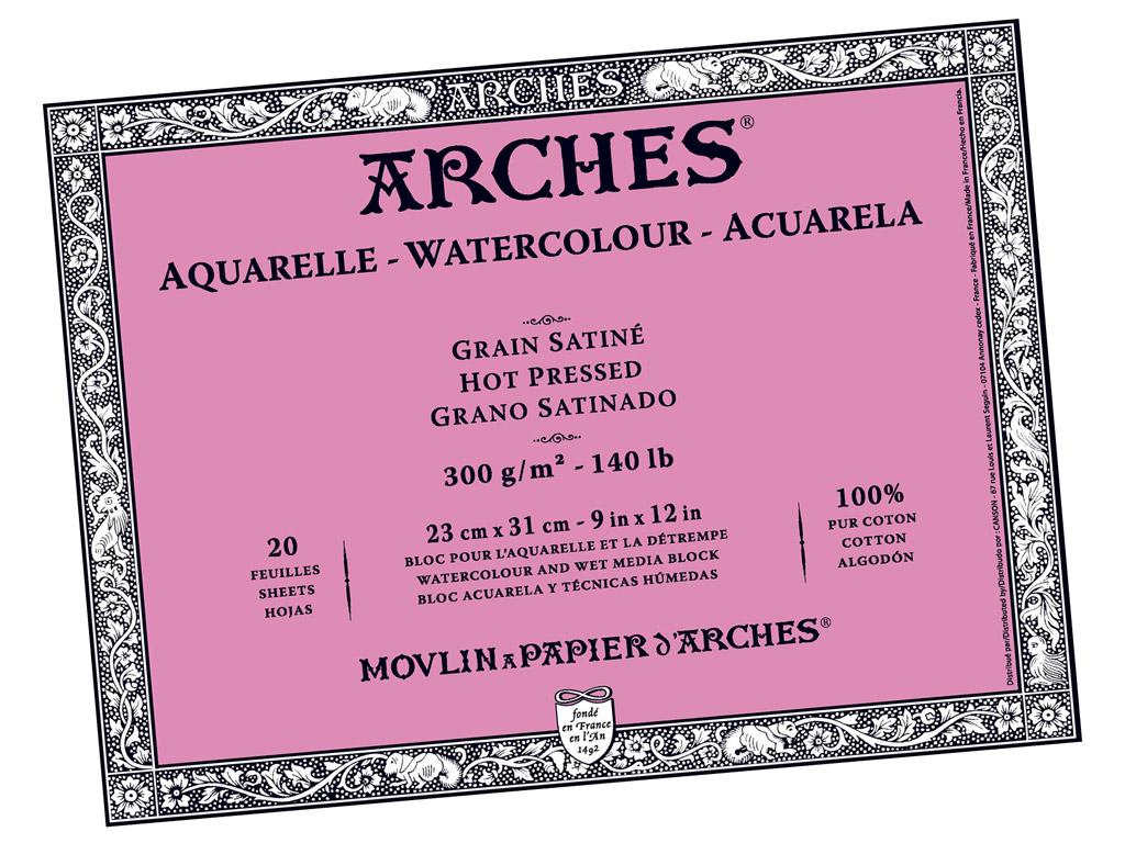 Akvarelinio popieriaus sąsiuvinis Arches 23x31cm/300g 20 lapų suklijuoti kraštai lygi