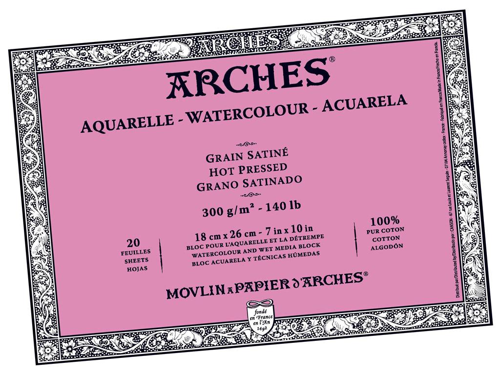 Akvarelinio popieriaus sąsiuvinis Arches 18x26cm/300g 20 lapų suklijuoti kraštai lygi