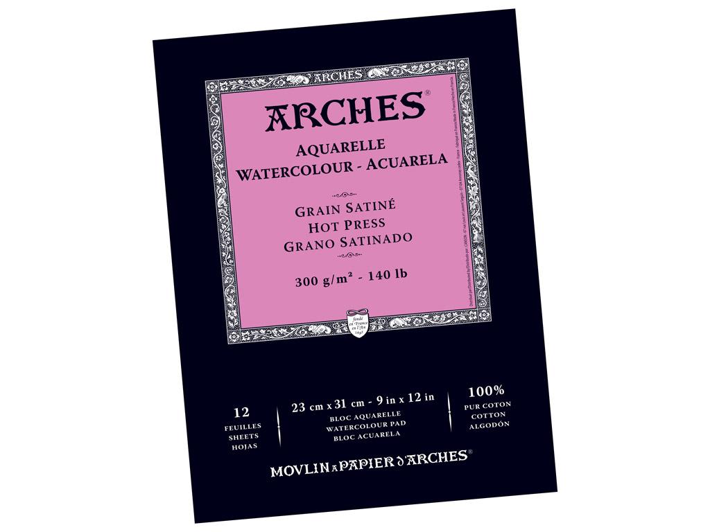 Akvarelinio popieriaus sąsiuvinis Arches 23x31cm/300g 12 lapų lygi