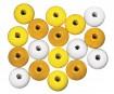 Pērlītes koka 12mm 32gab. yellow colours