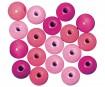 Pērlītes koka 12mm 32gab. pink colours