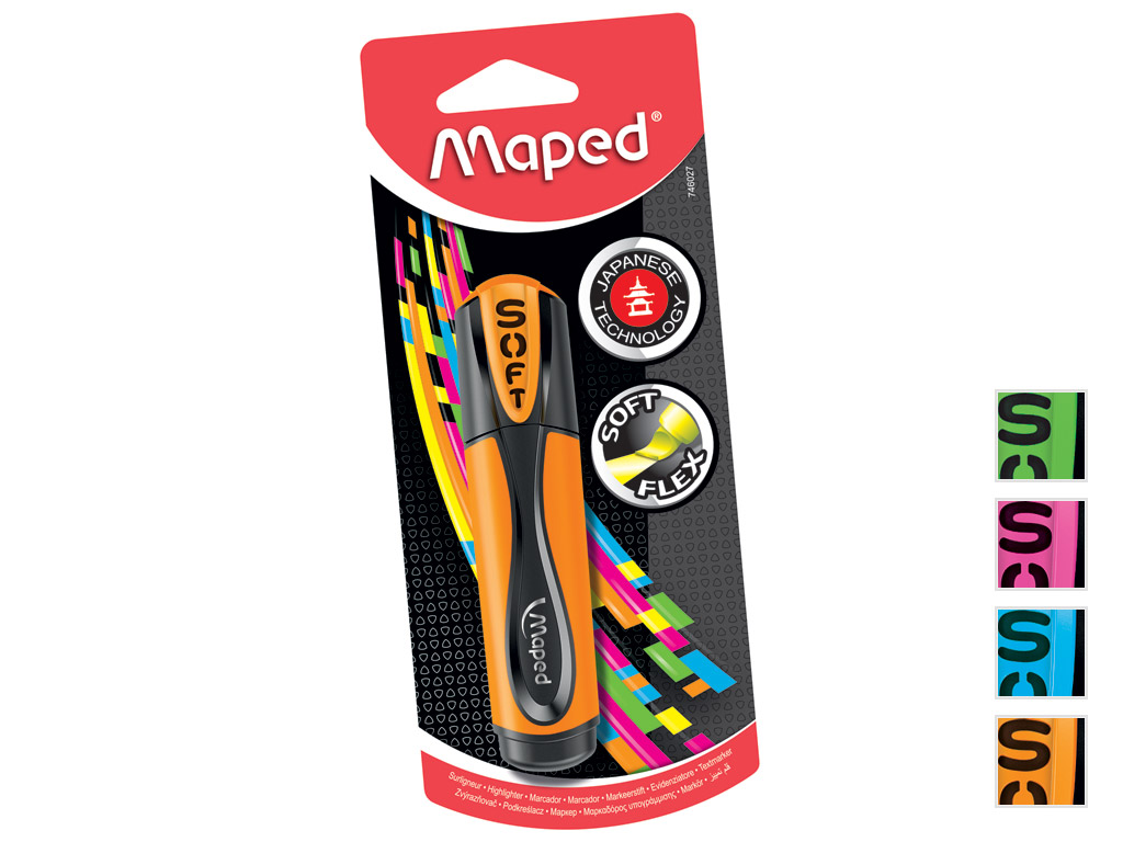 Tekstimarker Maped Fluo Peps Ultra Soft assortii blistril