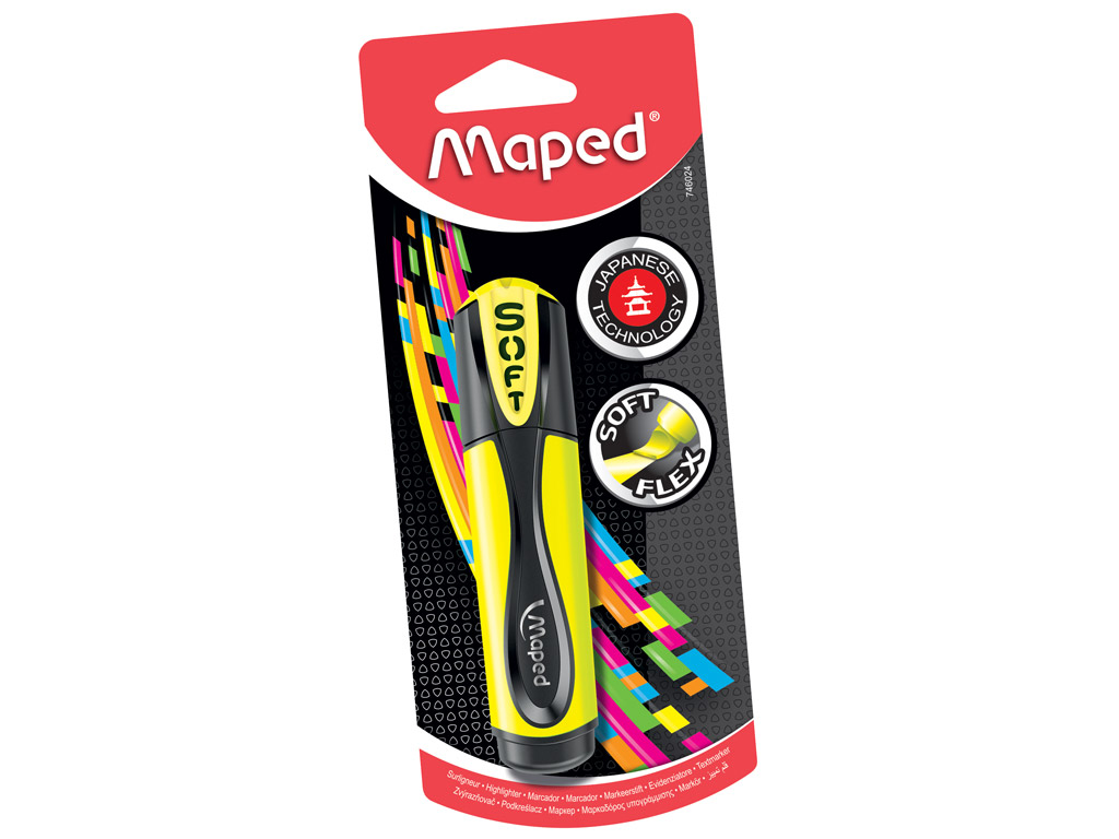 Tekstimarker Maped Fluo Peps Ultra Soft kollane blistril