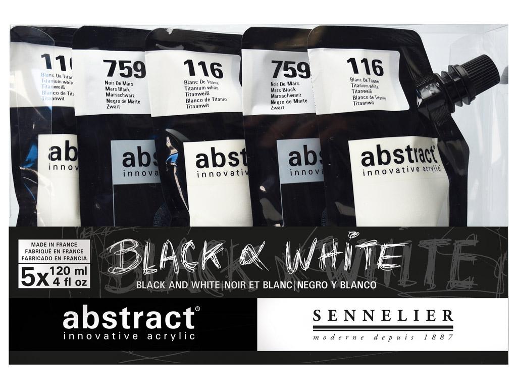 Akriliniai dažai Abstract 5x120ml Black&White