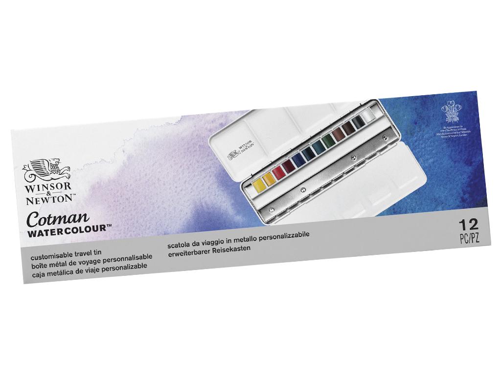 Akvarellvärv Cotman Blue Box 12x1/2 nööpi metallkarbis