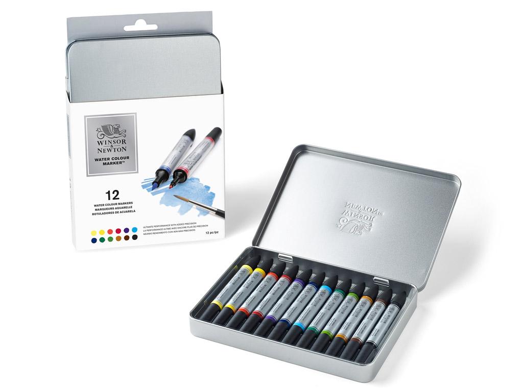 Akvareļu marķieris W&N 12gab. metāla kastē