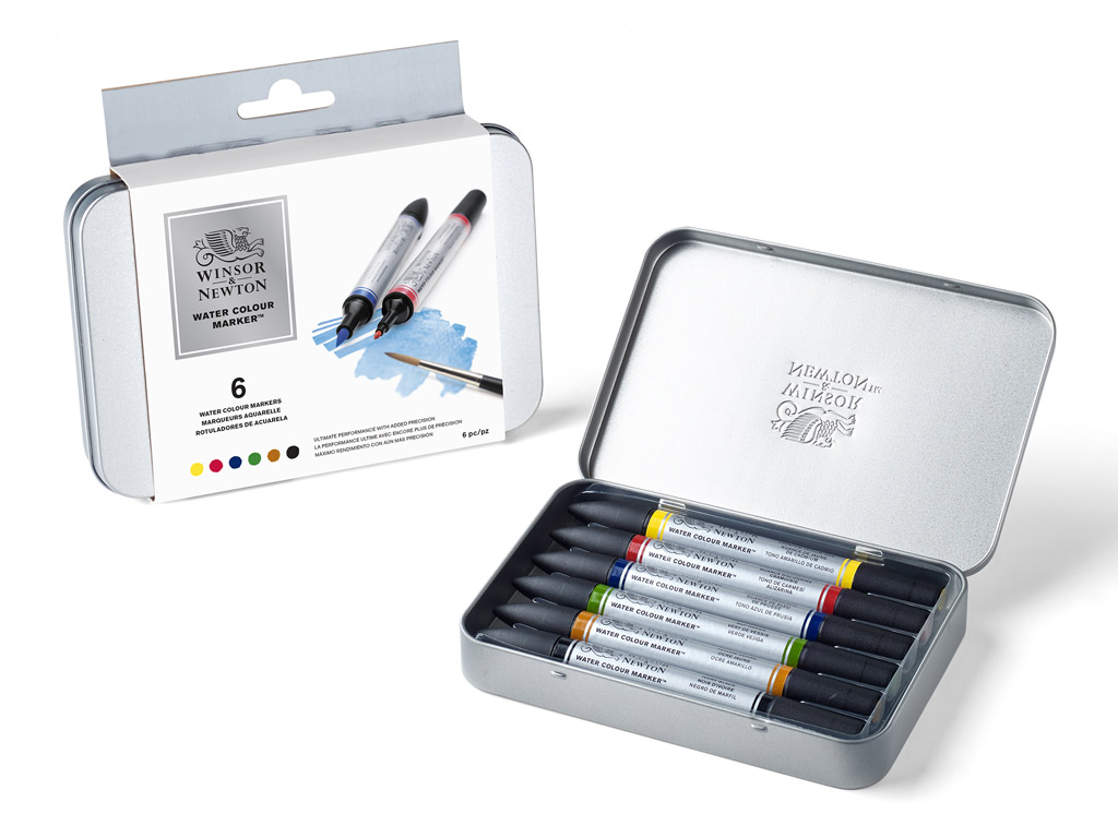 Akvareļu marķieris W&N 6gab. metāla kastē