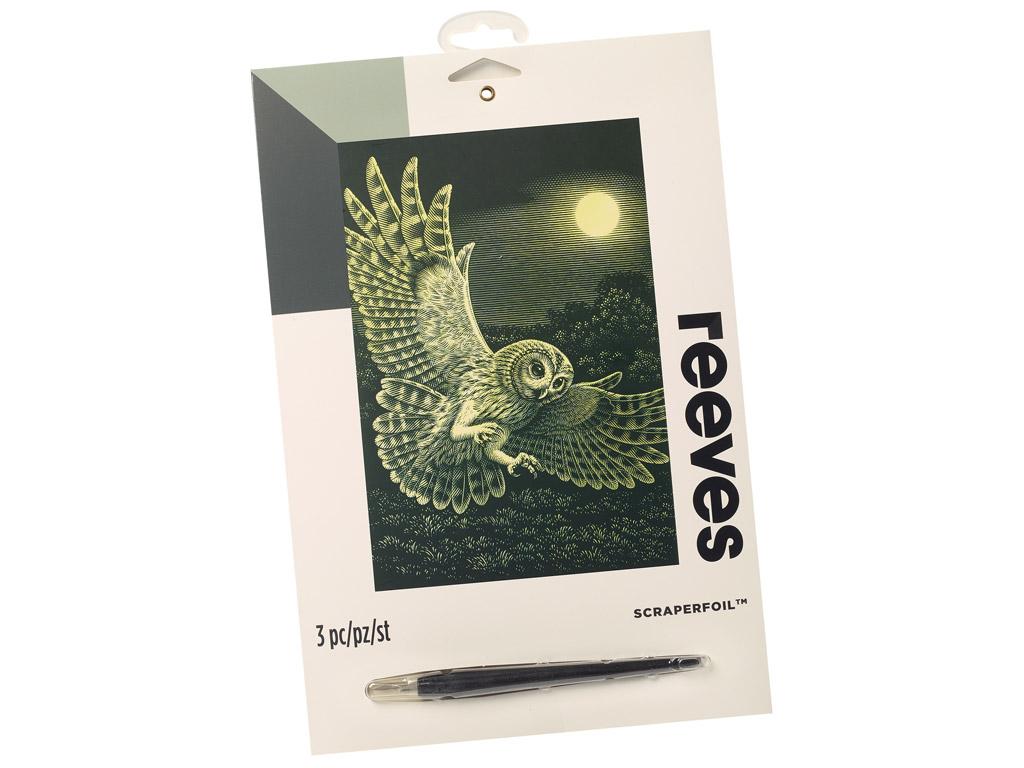 Scraperfoil Reeves 25x20cm Gold Barn Owl
