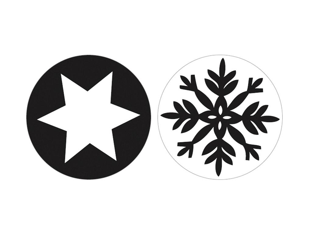 Tekstūras formas liešanas tehnikām Rayher d=30mm sniegpārsla+zvaigzne 2gab.