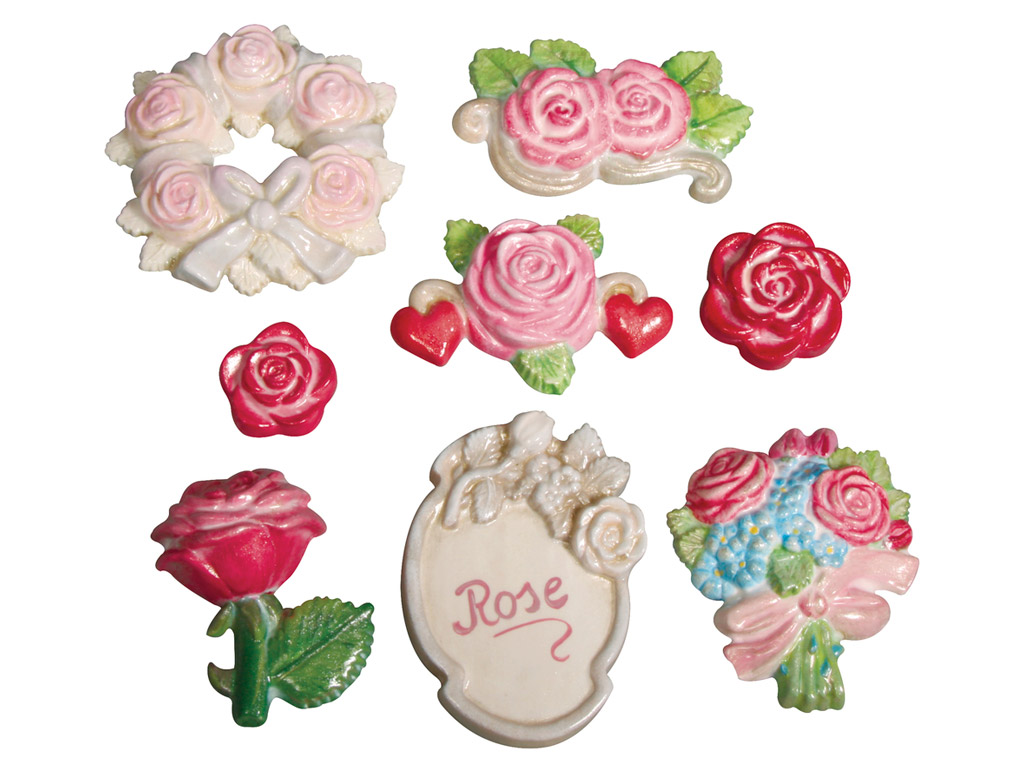 Casting mould with even backside Rayher rose garden 3.5-7cm 7 motifs