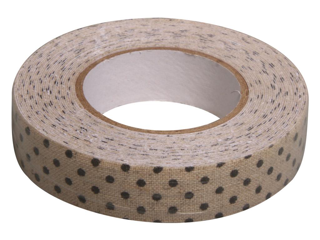 Tekstiilteip Rayher 15mmx2.5m linen black dots