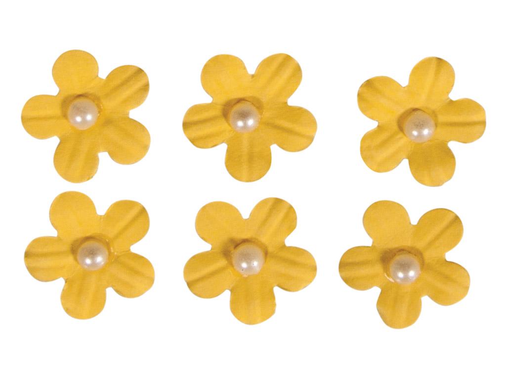 Kaunistus paberist Rayher lilleõied liimuv poolpärliga 20tk kollane