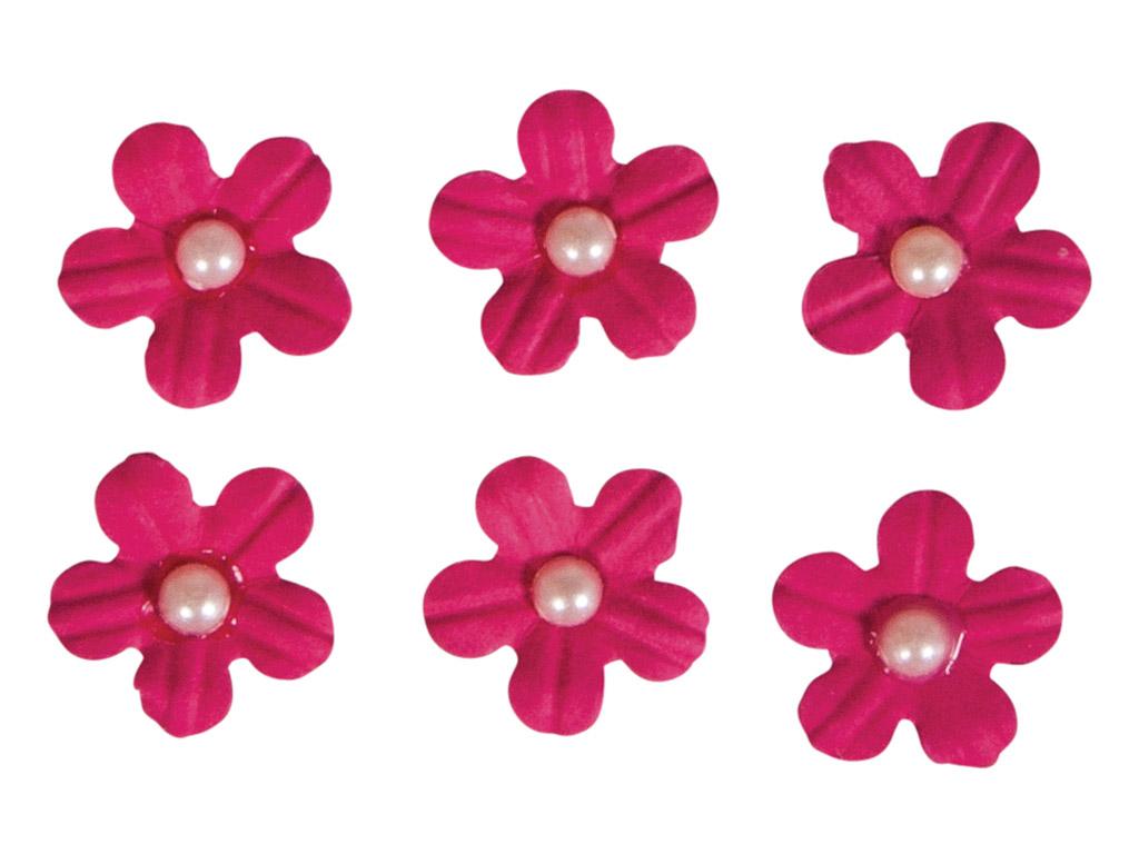 Kaunistus paberist Rayher lilleõied liimuv poolpärliga 20tk roosa