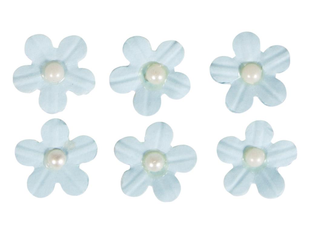 Kaunistus paberist Rayher lilleõied liimuv poolpärliga 20tk helesinine