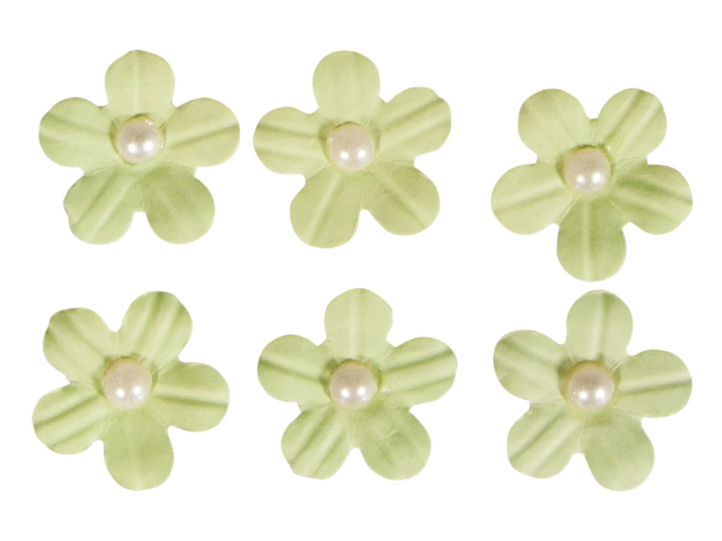 Kaunistus paberist Rayher lilleõied liimuv poolpärliga 20tk heleroheline