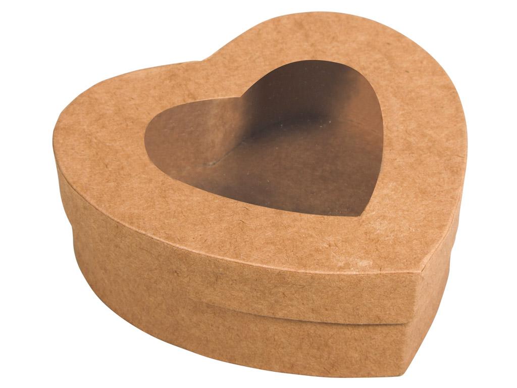 Kartoninė dėžutė Rayher širdelė 12.2x11.2x4.3cm su langeliu