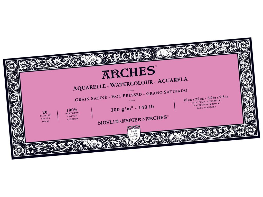 Akvarelinio popieriaus sąsiuvinis Arches 10x25cm/300g 20 lapų suklijuoti kraštai lygi