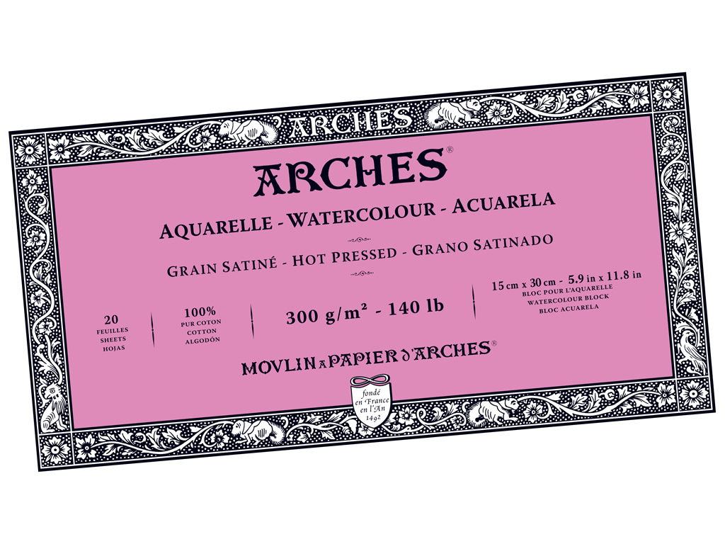 Akvarelinio popieriaus sąsiuvinis Arches 15x30cm/300g 20 lapų suklijuoti kraštai lygi