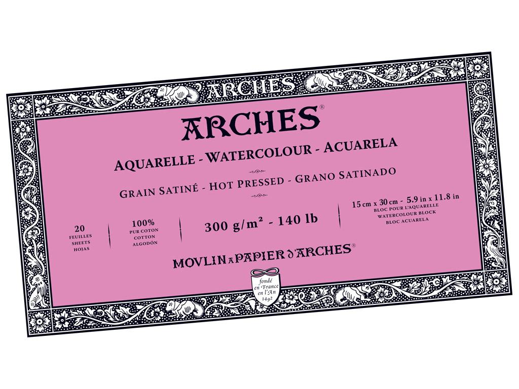 Akvarellplokk Arches 15x30cm/300g 20 lehte liimitud küljed sile