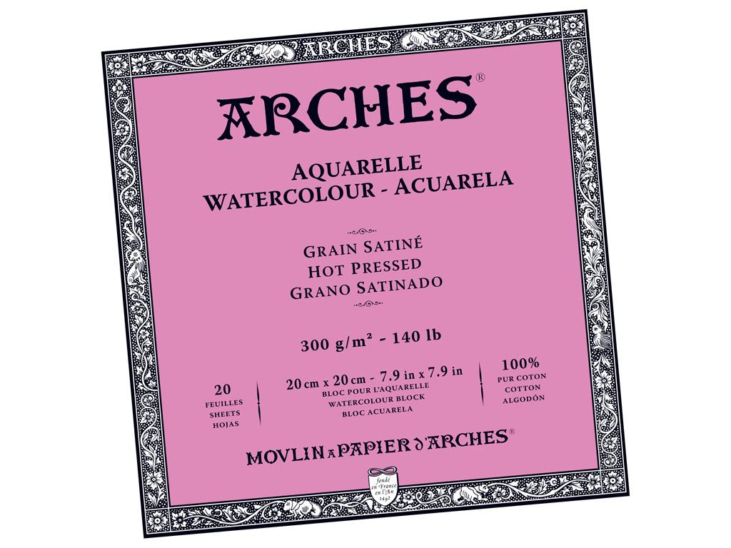 Akvarelinio popieriaus sąsiuvinis Arches 20x20cm/300g 20 lapų suklijuoti kraštai lygi