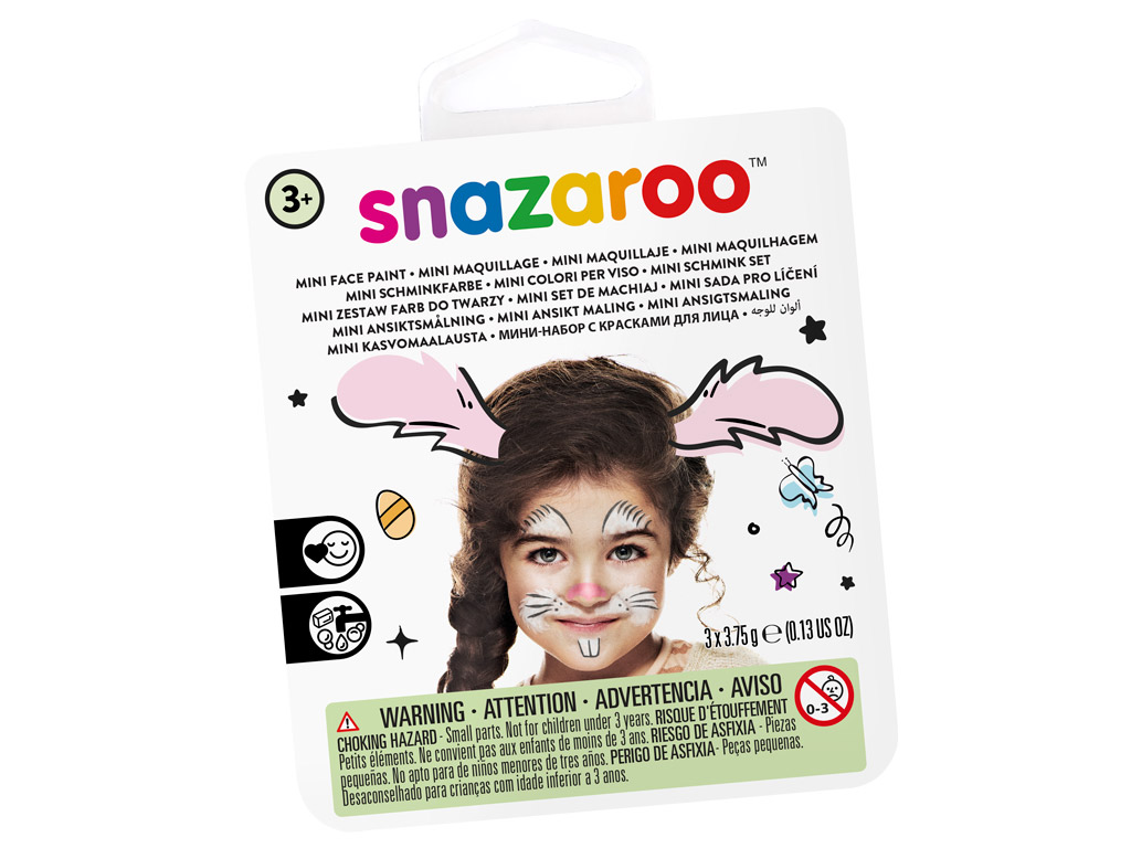 Sejas krāsu komplekts Snazaroo Mini 3 krāsas+ota+švamme Bunny