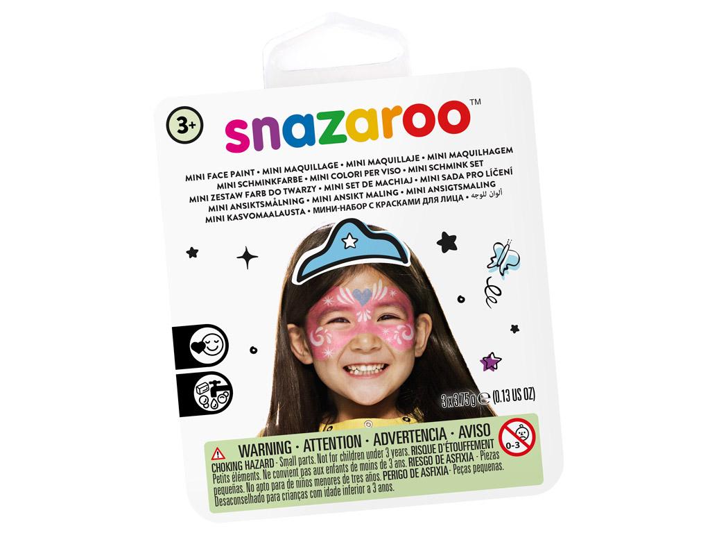 Sejas krāsu komplekts Snazaroo Mini 3 krāsas+ota+švamme Festive mask
