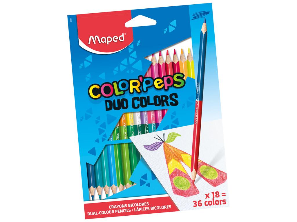 Spalvotas pieštukas ColorPeps Duo 18vnt.=36vnt.