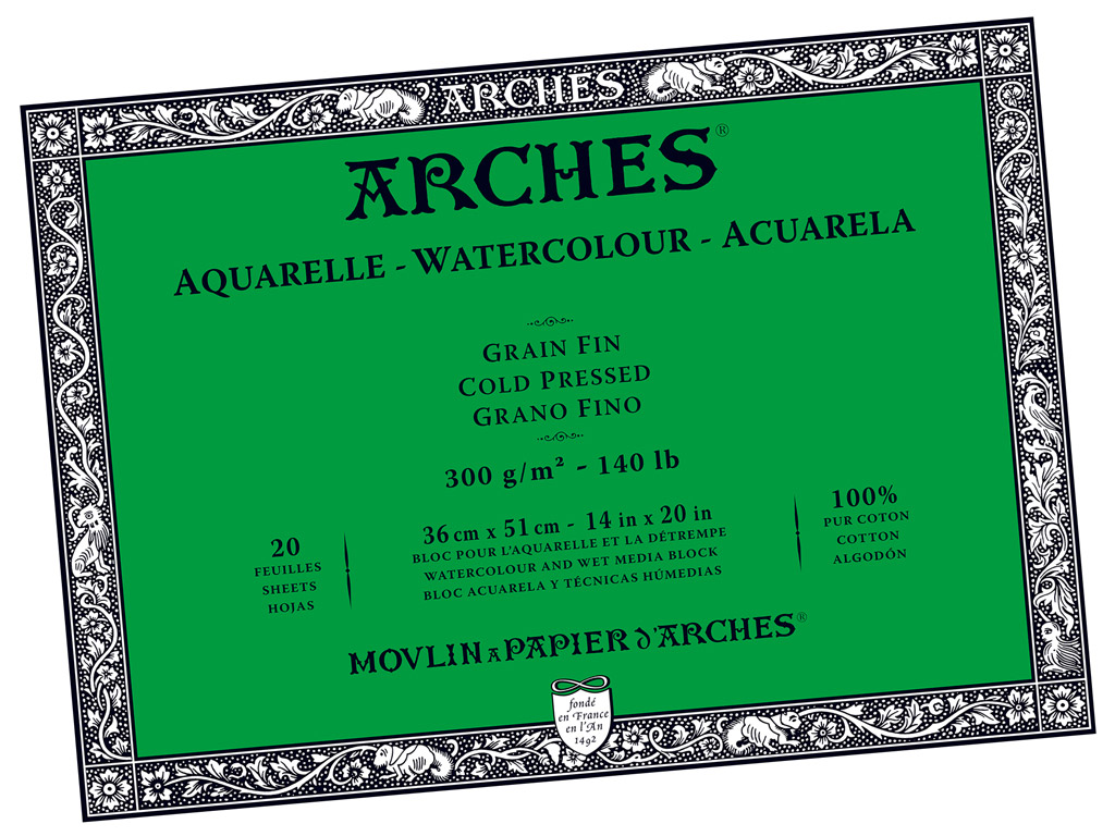 Akvarelinio popieriaus sąsiuvinis Arches 36x51cm/300g 20 lapų suklijuoti kraštai vidutinė tekstūra